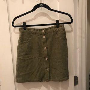 Zara Corduroy green skirt